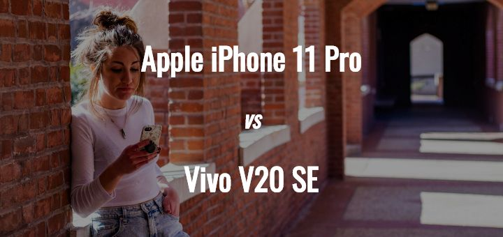 Apple iPhone 11 Pro vs Vivo V20 SE comparison top image